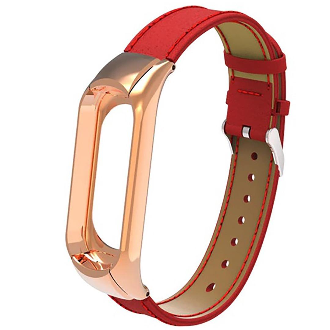 Ремешок Leather Strap для Xiaomi Mi Band 3 / 4 Красный (hub_qupD22824)