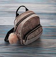 Городской компактный женский рюкзак,велюр с серебристым напылением,см.замеры в ПОЛНОМ ОПИСАНИИ товара, фото 1