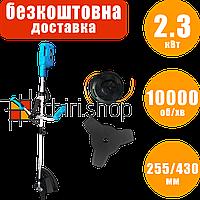 Электрокоса Riber RB 2300 E с ножом и леской, 2.3 кВт, электрический триммер, коса