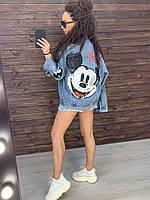 Женская куртка ветровка джинсовая курточка Стильная джинсовка Рисунок Микки нанесен Плотный коттон оверсайз