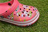 Детские шлепанцы кроксы сабо crocs розовые принт микки маус р30-35, фото 7