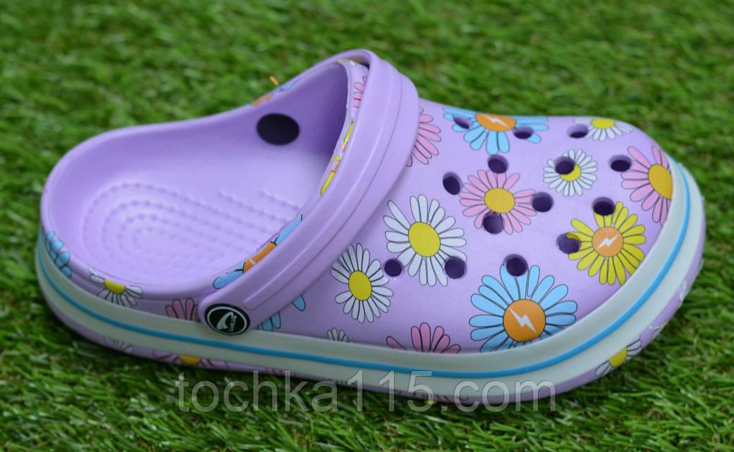Детские шлепанцы кроксы сабо crocs сиреневые принт цветы р30-35