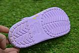 Детские шлепанцы кроксы сабо crocs сиреневые принт цветы р30-35, фото 3