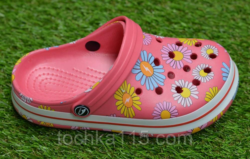 Детские шлепанцы кроксы сабо crocs розовые принт цветы р30-35