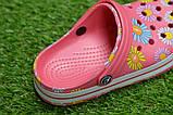 Детские шлепанцы кроксы сабо crocs розовые принт цветы р30-35, фото 7
