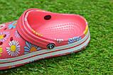 Детские шлепанцы кроксы сабо crocs розовые принт цветы р30-35, фото 5