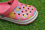 Детские шлепанцы кроксы сабо crocs розовые принт цветы р30-35, фото 6