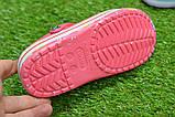 Детские шлепанцы кроксы сабо crocs розовые принт цветы р30-35, фото 4