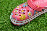 Детские шлепанцы кроксы сабо crocs розовые принт цветы р30-35, фото 3