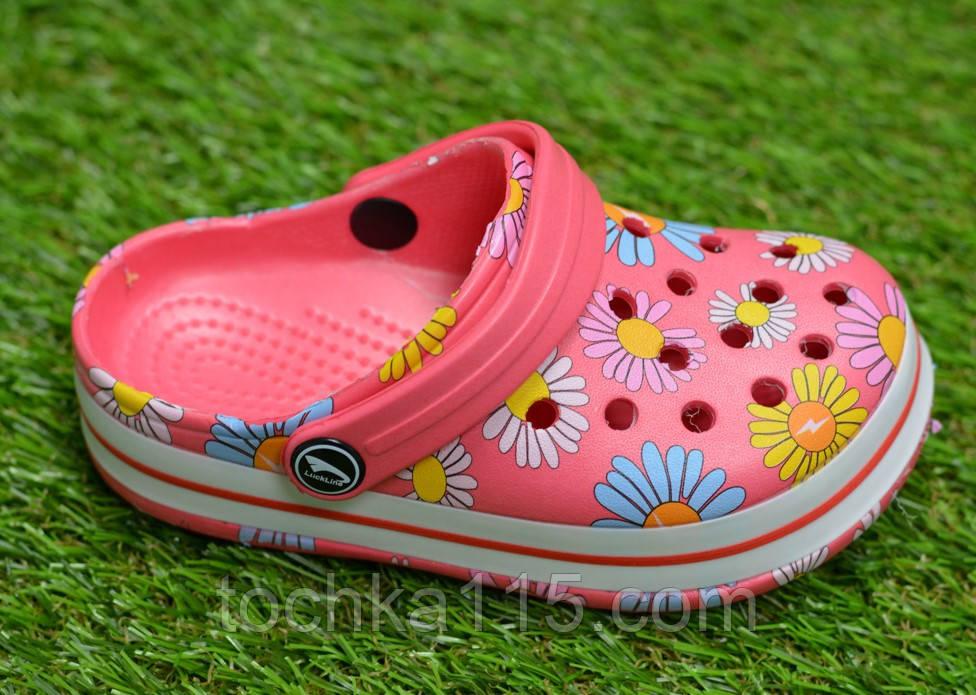 Дитячі капці крокси сабо crocs рожевий принт квіти р24-29