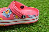 Дитячі капці крокси сабо crocs рожевий принт квіти р24-29, фото 5
