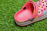 Дитячі капці крокси сабо crocs рожевий принт квіти р24-29, фото 3