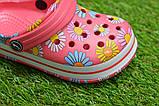 Дитячі капці крокси сабо crocs рожевий принт квіти р24-29, фото 7