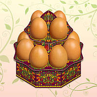 "Декоративная подставка для яиц №12.1 ""Хохлома"" (12 яиц) высокая (1 шт)"