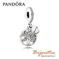 Pandora Шарм-подвеска СЕМЕЙНОЕ ДЕРЕВО бусина 791728CZ серебро 925 золото 14к  Пандора оригинал