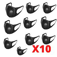 Маска Fashion Питта для защиты органов дыхания с клапаном 10 штук Черная (Pitta+10)
