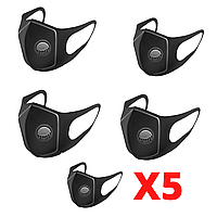 5 шт Женская, мужская черная многоразовая маска для лица с клапаном, маска питта| Гарантия качества