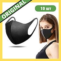 Многоразовая медицинская маска черная 10 шт (Питта) двухслойная, ультразащитная
