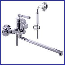 Смеситель для ванны латунный с длинным поворотным изливом носиком гусаком Mixxus Vintage однорычажный с душем