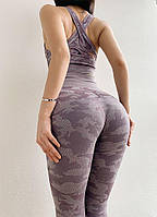 Лосины леггинсы спортивные с высокой талией камуфляж для йоги и фитнеса. С высоким поясом. С высокой посадкой