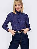 Класична сорочка з принтом на застібці гудзики і довгим рукавом, фото 2