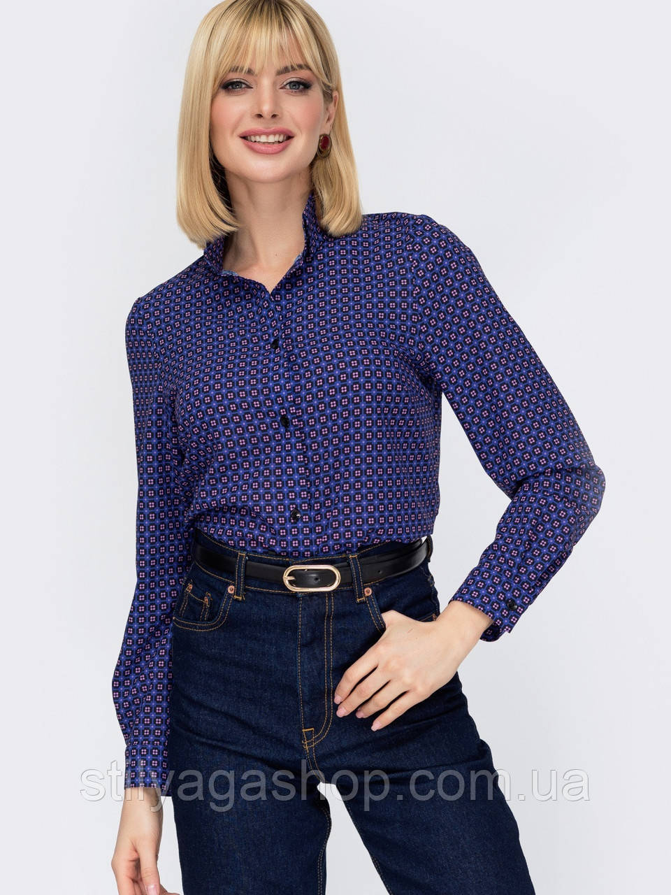 Класична сорочка з принтом на застібці гудзики і довгим рукавом