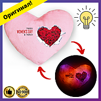 Мягкая Подушка сердце ночник с надписью Women's day, светящаяся подушка, подарок на День Святого Валентина