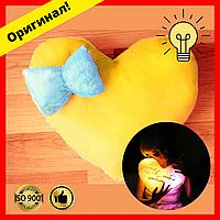 Мягкая Подушка желтое сердце с бантом, светящаяся подушка, подарок на День Святого Валентина девушке, парню