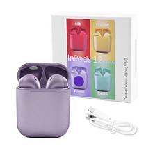 Бездротові навушники блютуз гарнітура inPods 12 simple TWS bluetooth V5.0 сенсорні. Колір: фіолетовий