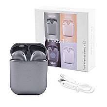 Бездротові навушники блютуз гарнітура inPods 12 simple TWS bluetooth V5.0 сенсорні. Колір: срібний