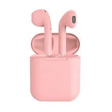 Бездротові bluetooth-навушники i12 5.0 з кейсом. Колір: рожевий