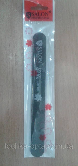 Пилка для ногтей Salon Professional 100/100, прямая узкая, черная