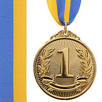 Спортивная медаль с лентой d=50 мм C-4872, 1 место (золото), фото 1