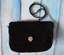 """Жіноча замшева сумка """"Soft"""" чорна"""