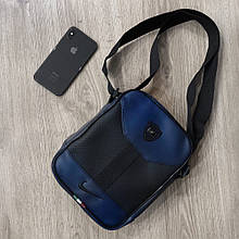Стильная мужская кожаная барсетка Nike ( сине-черная )
