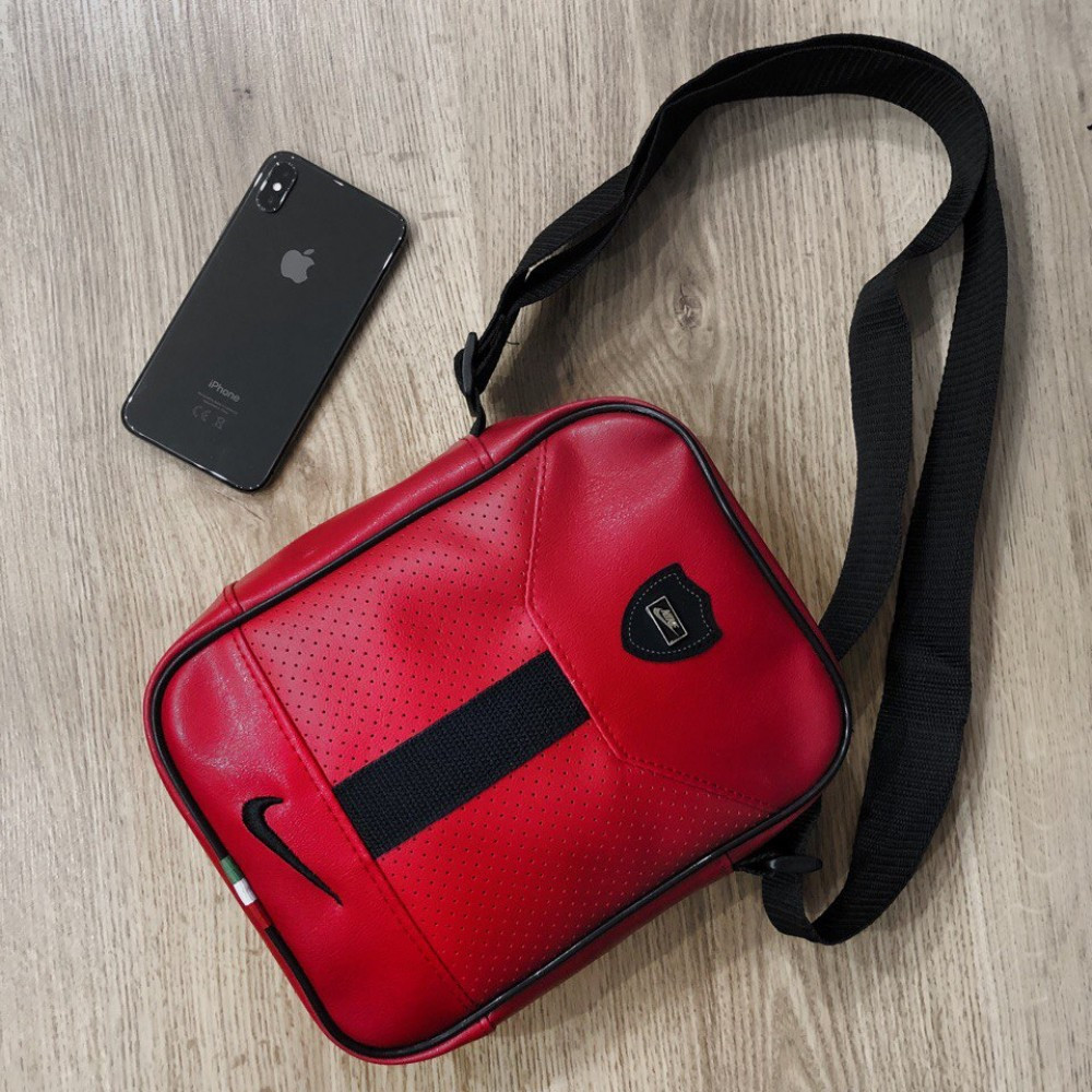Стильная мужская кожаная барсетка Nike ( красно-черная )