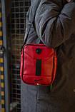 Стильная мужская кожаная барсетка Nike ( красно-черная ), фото 2