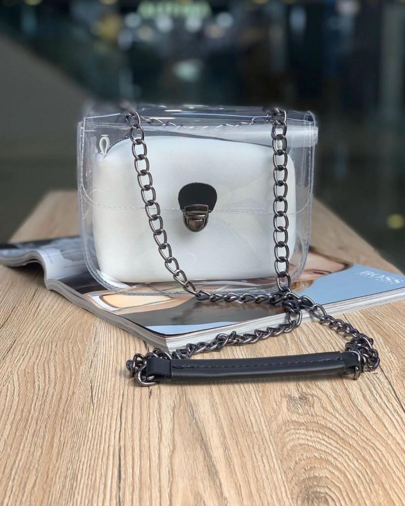 Женская сумка прозрачная белая