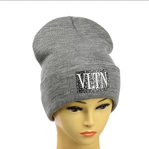 Жіноча шапка з люрексом VLTN Сіра - Молодіжна шапка -лопата з відворотом Топ