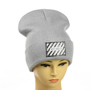 Жіноча шапка з люрексом Off-White Світло-сіра - Молодіжна шапка -лопата з відворотом Топ