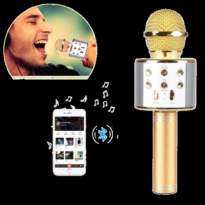 Микрофон караоке Wester WS-858 - беспроводной Bluetooth микрофон для караоке с плеером Золотой Топ