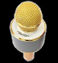 Микрофон караоке Wester WS-858 - беспроводной Bluetooth микрофон для караоке с плеером Золотой Топ, фото 3