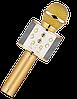 Микрофон караоке Wester WS-858 - беспроводной Bluetooth микрофон для караоке с плеером Золотой Топ, фото 4