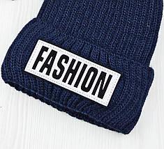 """Женская шапка """"Fashion"""" Темно-синяя - шапка на полном флисе с помпоном Топ, фото 2"""