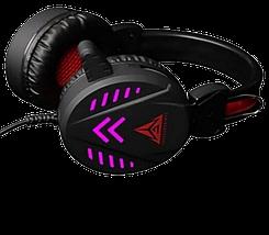 Ігрові навушники A1 зі світлодіодним підсвічуванням і мікрофоном - провідні комп'ютерні навушники USB, AUX, чорні, фото 2