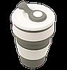 Термо-чашка силиконовая складная Collapsible 350 мл Серая Топ, фото 3