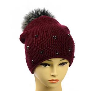 """Жіноча зимова шапка """"Поліна"""" бордова - шапка на флісі з помпоном і намистинками Топ"""