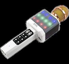 Мікрофон караоке WSTER WS-1828 - Бездротовий мікрофон караоке з динаміком і світломузикою Білий Топ, фото 3