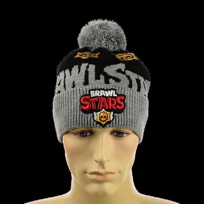 "Дитяча шапка ""Brawl Stars"" Сіра - шапка з бубоном Топ"