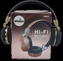Бездротові навушники JBL V682 - складено Bluetooth-навушники з акумулятором, MP3 плеєром і FM радіо Репліка, фото 3